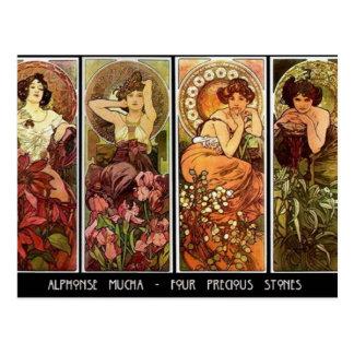 4 stones A. Mucha Postcard