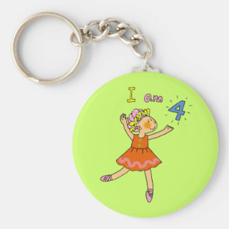 4 year old ballerina basic round button key ring