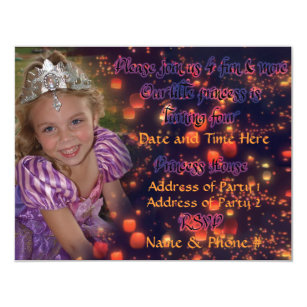 4 Year Old Princess Birthday Invitations With Back