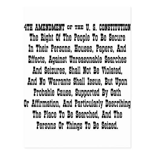 4th Amendment Of The U.S. Constitution Postcard