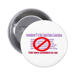 4th Amendment - Void where prohibited by law 6 Cm Round Badge