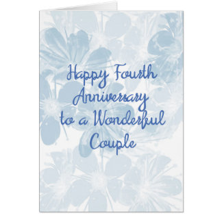 4th Anniversary Card with Blue Flowers