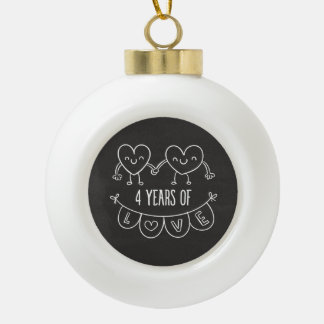 4th Anniversary Gift Chalk Hearts Ceramic Ball Christmas Ornament