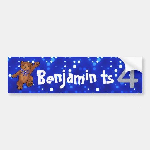 4th Birthday Bear Bumper Sticker