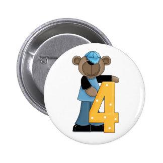 4th. Birthday Bear Fun Pin Button
