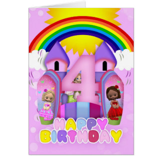 4th Birthday Bouncy Castle Greeting Card For Girls