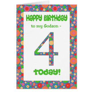 4th Birthday Card for Godson, Bright and Bubbly