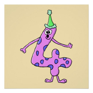4th Birthday Cartoon Character. Poster