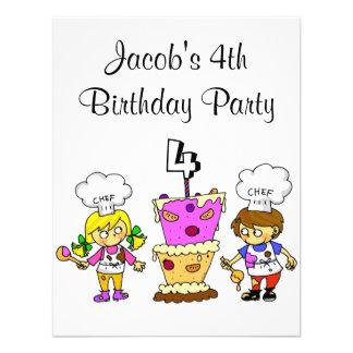 4th birthday cooking party custom announcements