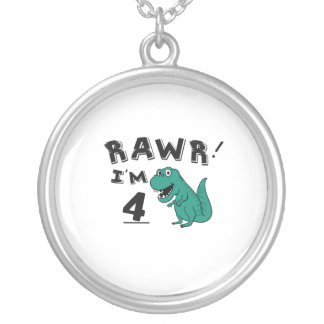 4th Birthday Dinosaur Gift for 4 Year Old Kids Silver Plated Necklace