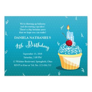 4th Birthday Ice Blue Cupcake Party Custom Invitation