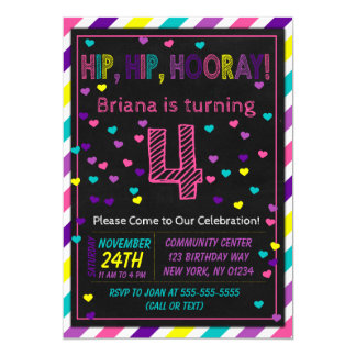 4th Birthday Invitation for a Girls Birthday Party