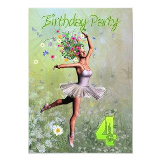 "4th Birthday party invitation 5"" X 7"" Invitation Card"