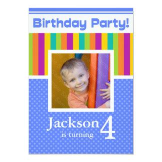 4th Birthday Party Invitations Fun Neon Boy