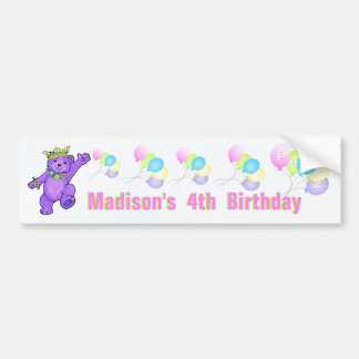 4th Birthday Party Purple Princess Bear Bumper Sticker