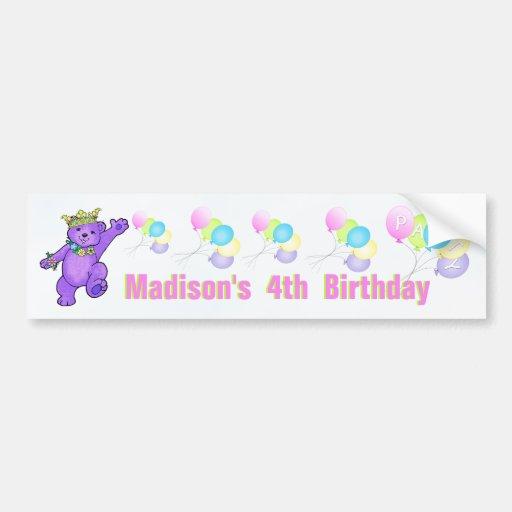 4th Birthday Party Purple Princess Bear Bumper Stickers
