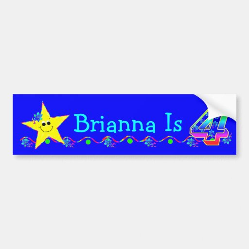 4th Birthday Party Smiley Stars Bumper Stickers
