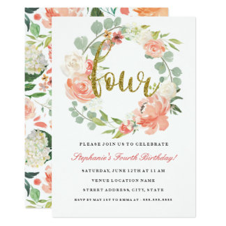 4th Birthday Pink Gold Floral Wreath Invitation