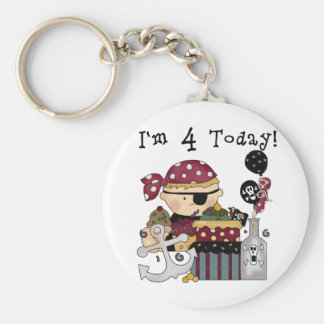 4th Birthday Pirate Tshirts and Gifts Basic Round Button Key Ring