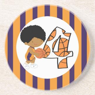 4th Birthday Purple & Orange Basketball Player v2 Drink Coaster