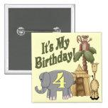 4th Birthday Safari Pinback Buttons