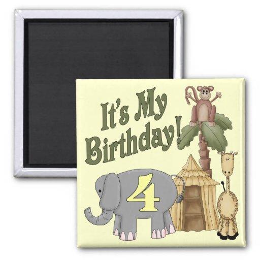4th Birthday Safari Square Magnet
