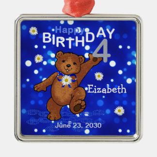 4th Birthday Teddy Bear Keepsake Silver-Colored Square Decoration