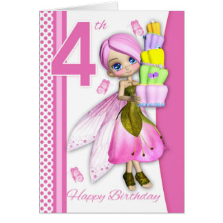 4th Birthday Tipsy Cake Fantasy Fairy Cutie Pie Greeting Card