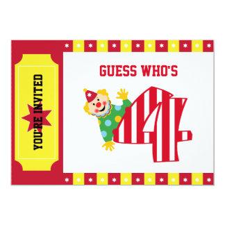 "4th Birthday Waving Circus Clown Invitation 5"" X 7"" Invitation Card"