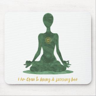 4th Chakra Heart Anahata Green Affirmation Mouse Pad