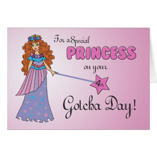 4th Gotcha Day Pink Princess w/ Sparkly-Look Wand Card