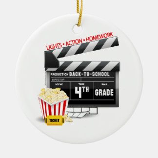 4th Grade Movie Clapboard Ceramic Ornament