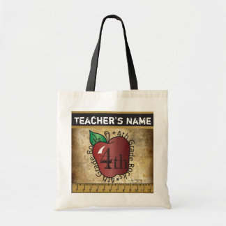 4th Grade Rocks Vintage Styled Teacher's Bag Canvas Bag