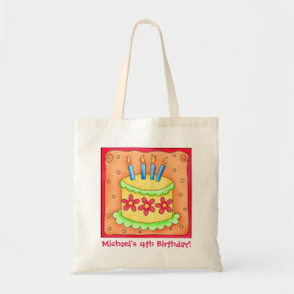 4th Happy Birthday Cake Name Personalized Boy Gift Tote Bag