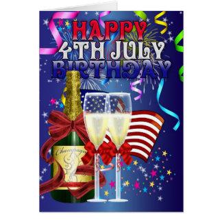 4th July Birthday - Birthday On The Fourth Of July Card