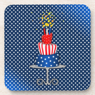 4th July Celebration Cake in Red, White and Blue Coaster