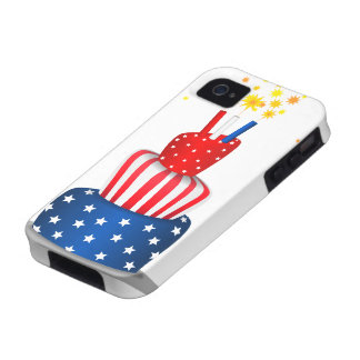 4th July Celebration Cake in Red, White and Blue iPhone 4 Cover