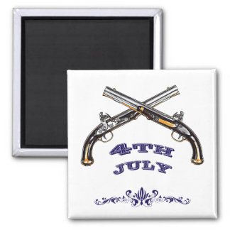 4th July Crossed Flintlocks Magnet