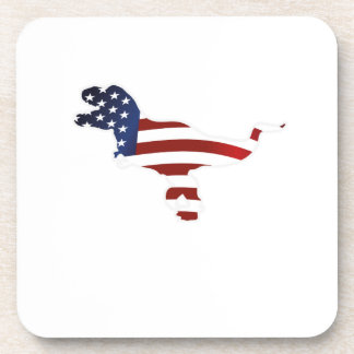 4th July Dinosaur T-Rex American Flag Funny Gift Coaster