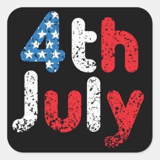 4th July Grunge Effect Square Sticker