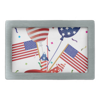 4th July Hat Balloons American Flag Firecrackers Belt Buckle