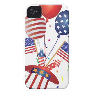 4th July Hat Balloons American Flag Firecrackers iPhone 4 Case-Mate Cases
