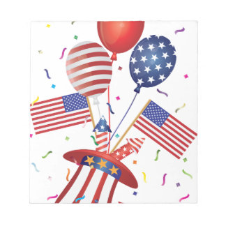 4th July Hat Balloons American Flag Firecrackers Notepad