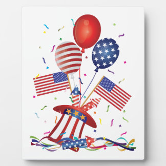 4th July Hat Balloons American Flag Firecrackers Plaque