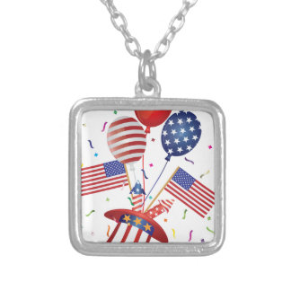 4th July Hat Balloons American Flag Firecrackers Silver Plated Necklace