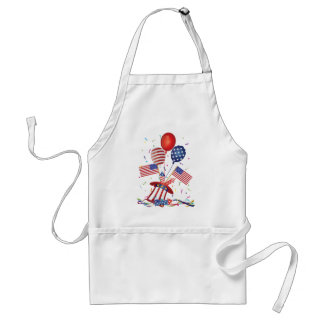 4th July Hat Balloons American Flag Firecrackers Standard Apron