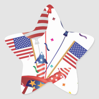 4th July Hat Balloons American Flag Firecrackers Star Sticker