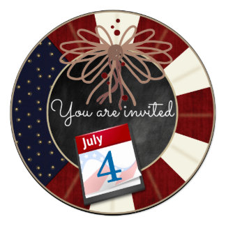 "4th July Independence Day Chalkboard Party Invites 5.25"" Square Invitation Card"