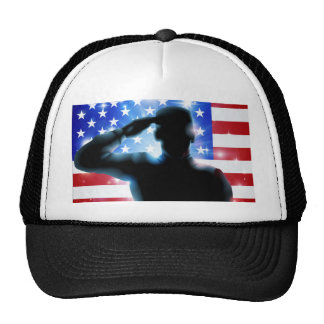 4th July or Veterans Day Illustration Mesh Hats