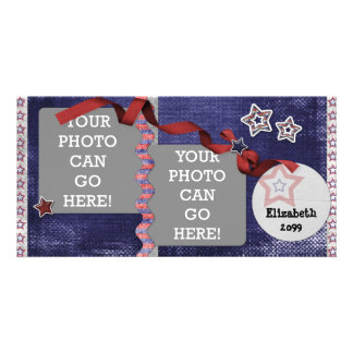 4th July USA American Patriotic Stars Designer Photo Card Template